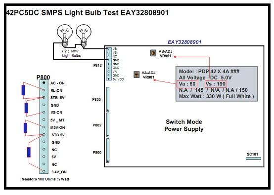 LG Plasma TV de suministro de energía de prueba con bombillas
